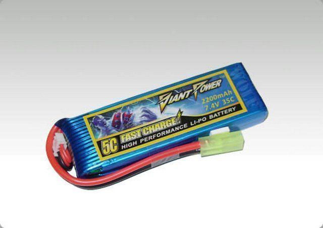 Аккумулятор Giant Power LiPo 2200mAh 7.4V 35C mini Tamya HIMOTO 1/16 (17x34x104mm)